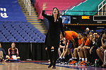 03 March 2016: Virginia head coach Joanne Boyle. The Duke University Blue Devils played the University of Virginia Cavaliers at the Greensboro Coliseum in Greensboro, North Carolina in the Atlantic Coast Conference Women's Basketball tournament and a 2015-16 NCAA Division I Women's Basketball game. Duke won the game 57-53.