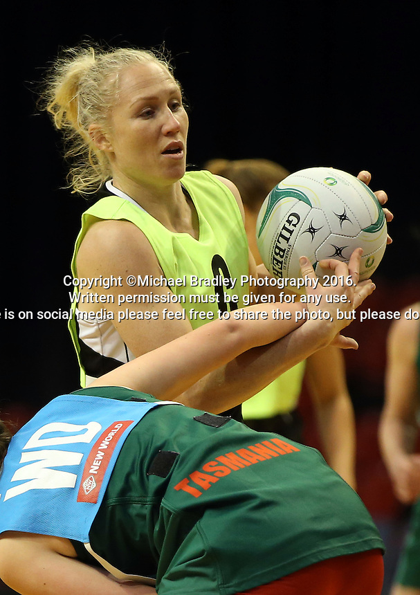 09.10.2016 Silver Ferns Laura Langman in action during training at the Silver Dome in Launceston in Australia. Mandatory Photo Credit ©Michael Bradley.