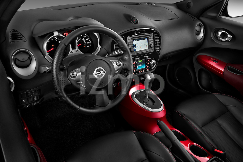 High Angle Dashboard View 2011 Nissan Juke SV SUV Stock Photo