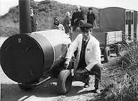 BNPS.co.uk (01202 558833)<br /> Pic: Echo/BNPS<br /> <br /> Former driver and one of the builders of the original train, Robert Jowitt in 1968. <br /> <br /> There was outrage today after a family that has run one of Britain's first 'Noddy' land trains for 46 years were served with a notice to quit the service.<br /> <br /> The much-loved novelty train that carries people to a remote beach was started in 1968 by the late Roger Faris, who hand-built the carriages himself.<br /> <br /> Since his death 34 years ago his widow Joyce, 88, has operated the independent service for 364 days a year and runs it more as a hobby than a profitable business.<br /> <br /> The little train has been used by generations of people and become a popular fixture at the Hengistbury Head beauty spot in Dorset.<br /> <br /> Now after five decades of service, town hall officials have told Mrs Faris they will not be renewing their contract with her as they intend to operate their own train service.