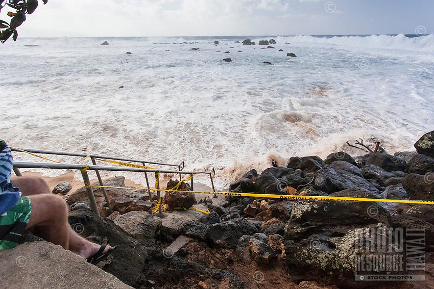 Waves Crash Against Stairs, Keiki Beach, O'ahu | Photo Resource Hawaii