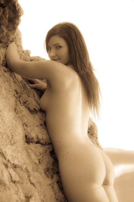 Artistic nude photos in sepia golden colour