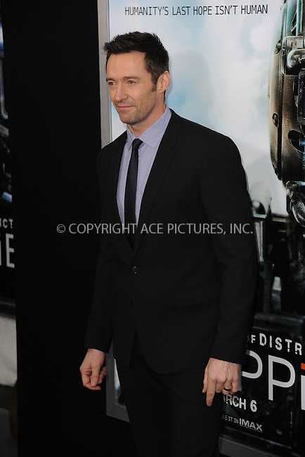 WWW.ACEPIXS.COM<br /> March 4, 2015 New York City<br /> <br /> Hugh Jackman attending the 'Chappie' New York Premiere at AMC Lincoln Square Theater on March 4, 2015 in New York City.<br /> <br /> Please byline: Kristin Callahan/AcePictures<br /> <br /> ACEPIXS.COM<br /> <br /> Tel: (646) 769 0430<br /> e-mail: info@acepixs.com<br /> web: http://www.acepixs.com