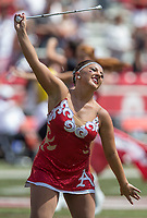 Hawgs Illustrated/Ben Goff<br /> Savannah Miller, Arkansas featured twirler, Saturday, Sept. 1, 2018, before the game vs Eastern Illinois at Razorback Stadium in Fayetteville.