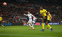 Tottenham Hotspur's Son Heung-Min scores his side's first goal  <br /> <br /> Photographer Rob Newell/CameraSport<br /> <br /> UEFA Champions League Round of 16 First Leg - Tottenham Hotspur v Borussia Dortmund - Wednesday 13th February 2019 - Wembley Stadium - London<br />  <br /> World Copyright © 2018 CameraSport. All rights reserved. 43 Linden Ave. Countesthorpe. Leicester. England. LE8 5PG - Tel: +44 (0) 116 277 4147 - admin@camerasport.com - www.camerasport.com