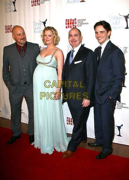 VAN PATTEN, GRETCHEN MOL, TERENCE WINTER & VINCENT PIAZZA.The 63rd annual Writers Guild Awards at the AXA Equitable Center on February 5, 2011 in New York, New York, NY, USA, 5th February 2011..full length pale blue green dress long maxi silk chiffon pregnant maternity suit tie .CAP/ADM/PZ.©Paul Zimmerman/AdMedia/Capital Pictures.