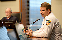 City of Fayetteville fire chief Brad Hardin speaks during a press conference Wednesday, March 18, 2020, at City Hall about the first resident of Fayetteville with a presumptive case of covid-19. Check out nwaonline.com/200319Daily/ and nwadg.com/photos for a photo gallery.<br /> (NWA Democrat-Gazette/David Gottschalk)