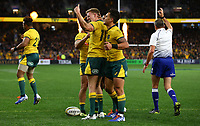 Reece Hodge of the Wallabies celebrates scoring a try during the Rugby Championship match between Australia and New Zealand at Optus Stadium in Perth, Australia on August 10, 2019 . Photo: Gary Day / Frozen In Motion