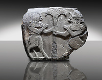Picture & image of a Neo-Hittite orthostat with a releif sculpture of Bull Men from The legend of Gilgamesh , Karkamis, Turkey. Ancora Archaeological Museum. 3
