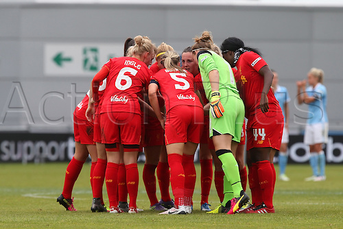 26.06.2016. The Academy Stadium, Manchester, England. FA Womens Super League. Manchester City versus Liverpool. The Liverpool team form a huddle before the start of the second half.