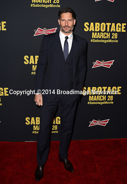 Pictured: Joe Manganiello<br /> Mandatory Credit: Luiz Martinez / Broadimage<br /> &quot;Sabotage&quot; Los Angeles Premiere<br /> <br /> 3/19/14, Los Angeles, California, United States of America<br /> Reference: 031914_LMLA_BDG_112<br /> <br /> sales@broadimage.com<br /> Bus: (310) 301-1027<br /> Fax: (646) 827-9134<br /> http://www.broadimage.com
