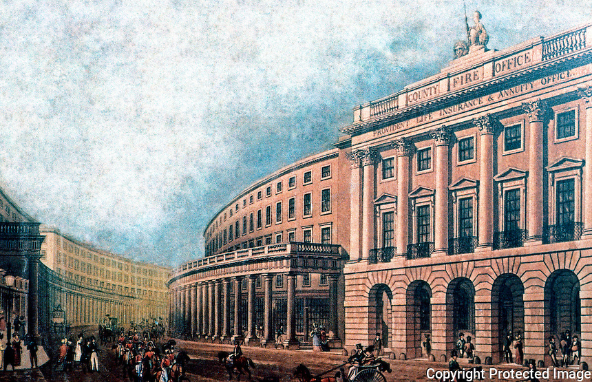 London: Regent St. The Quadrant, 1822. The County Fire Office, Center, faces Carlton House and begins the Great Quadrant.