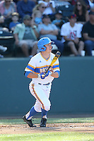 Brett Stephens (23) of the UCLA Bruins bats during a game against the Oregon State Beavers at Jackie Robinson Stadium on April 4, 2015 in Los Angeles, California. UCLA defeated Oregon State, 10-5. (Larry Goren/Four Seam Images)