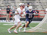 College Park, MD - May 13, 2018: Maryland Terrapins Jared Bernhardt (10) makes a pass during the NCAA first round game between Robert Morris and Maryland at  Capital One Field at Maryland Stadium in College Park, MD.  (Photo by Elliott Brown/Media Images International)
