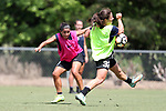 CARY, NC - MAY 10: Debinha (10) has a shot blocked by Paige Nielsen (32). The North Carolina Courage held a training session on May 10, 2017, at WakeMed Soccer Park Field 7 in Cary, NC.
