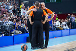 Referees talking during Turkish Airlines Euroleague Quarter Finals 4th match between Real Madrid and Panathinaikos at Wizink Center in Madrid, Spain. April 27, 2018. (ALTERPHOTOS/Borja B.Hojas)
