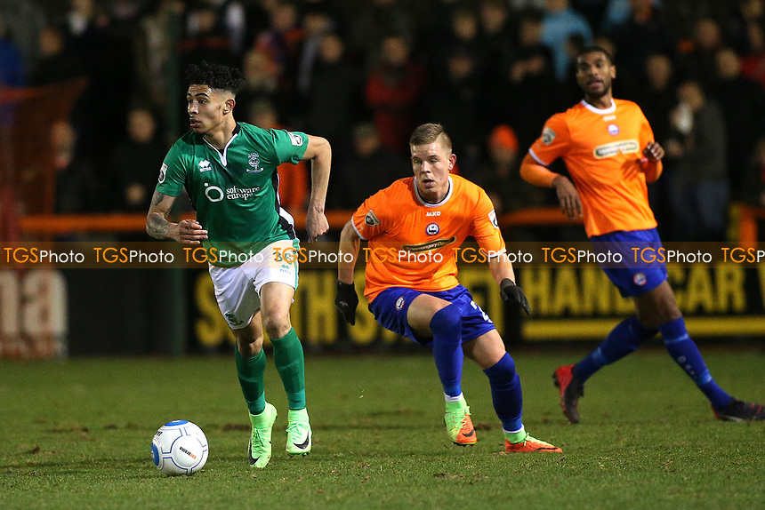 Josh Ginnelly of Lincoln City evades Monty Patterson of Braintree Town during Braintree Town vs Lincoln City, Vanarama National League Football at the IronmongeryDirect Stadium on 7th March 2017