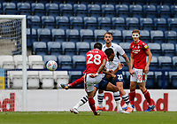 11th July 2020; Deepdale Stadium, Preston, Lancashire, England; English Championship Football, Preston North End versus Nottingham Forest; Tiago Silva of Nottingham Forest fires in his shot from the edge of the box as Daniel Johnson of Preston North End challenges