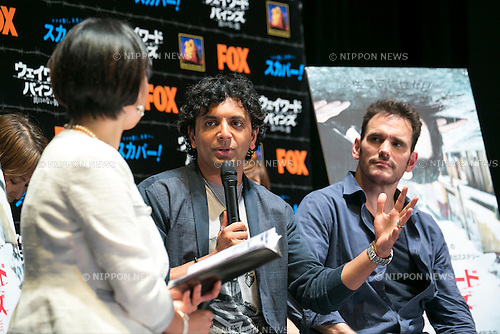 "(L to R) Director M. Night Shyamalan and the actor Matt Dillon speak to the audience during the talk show of the mystery drama ""Wayward Pines"" at the United Cinemas in Toyosu area on May 21, 2015, Tokyo, Japan. Dillon and Shyamalan are in Japan to promote simultaneous worldwide launch of the mystery drama through the FOX channel. Wayward Pines is an American television series based on the novel Pines by Blake Crouch. (Photo by Rodrigo Reyes Marin/AFLO)"