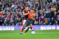 Jack Grealish of Aston Villa vies for possession with Bersant Celina of Swansea City during the Sky Bet Championship match between Aston Villa and Swansea City at Villa Park in Birmingham, England, UK.  Saturday 20 October  2018