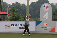 Kiradech Aphibarnrat (Asia) on the 4th tee during the Saturday Foursomes of the Eurasia Cup at Glenmarie Golf and Country Club on the 13th January 2018.<br /> Picture:  Thos Caffrey / www.golffile.ie