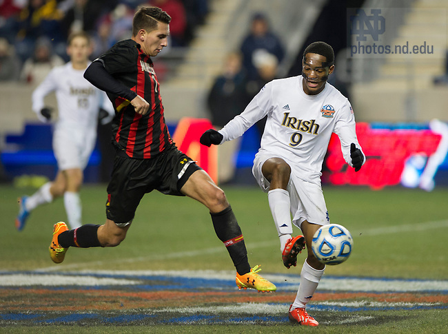 Dec 15, 2013; Notre Dame forward Leon Brown battles for the ball against Maryland midfielder Dan Metzger in the College Cup championship in Chester, Pa. Photo by Barbara Johnston/University of Notre Dame