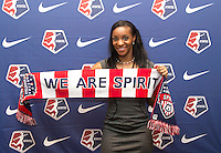 #1 overall pick Crystal Dunn of the Washington Spirit poses during the NWSL draft at the Pennsylvania Convention Center in Philadelphia, PA, on January 17, 2014.