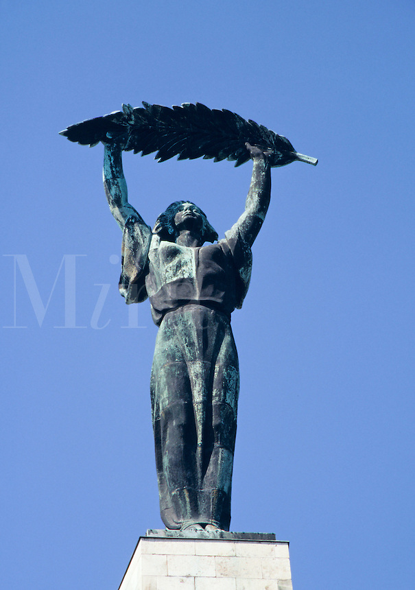 The Liberty Statue is a top the monument at the citadel on Gellert Hill in Buda, the oldest part of Budapest, Hungary.