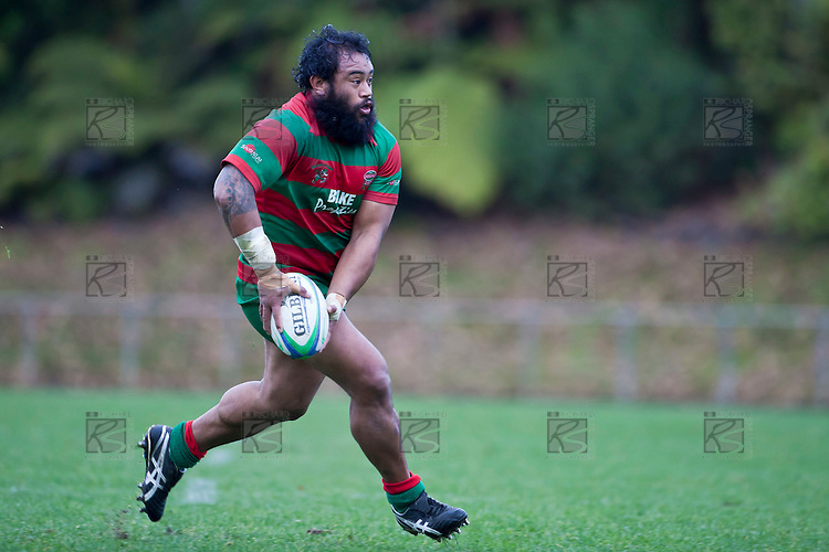 Simon Lemalu throws a dummy pass before putting in a a grupper kick near the tryline.  Counties Manukau McNamara Cup Premier Club Rugby final between Pukekohe andWaiuku, held at Bayer Growers Stadium, on Saturday July 17th. Waiuku won 25 - 20.
