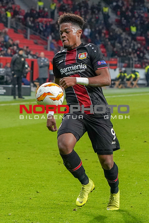 29.11.2018, BayArena, Leverkusen, Europaleque, Vorrunde, GER, UEFA EL, Bayer 04 Leverkusen (GER) vs. Ludogorez Rasgrad (BUL),<br />  <br /> DFL regulations prohibit any use of photographs as image sequences and/or quasi-video<br /> <br /> im Bild / picture shows: <br /> Leon Bailey (Leverkusen #9), Einzelaktion, Ganzkörper / Ganzkoerper,  <br /> <br /> Foto © nordphoto / Meuter<br /> <br /> <br /> <br /> Foto © nordphoto / Meuter