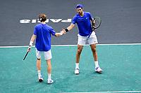 3rd November 2019, AccorHotels Arena, Bercy, Paris, France; Rolex Paris masters Tennis tournament, finals day;  Karen Khachanov and Andrey Rublev (Rus) mens doubles final