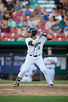 Kane County Cougars catcher Tim Susnara (6) at bat during a game against the West Michigan Whitecaps on July 19, 2018 at Northwestern Medicine Field in Geneva, Illinois.  Kane County defeated West Michigan 8-5.  (Mike Janes/Four Seam Images)