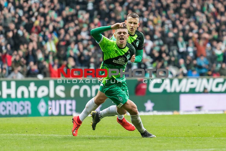 10.02.2019, Weserstadion, Bremen, GER, 1.FBL, Werder Bremen vs FC Augsburg<br /> <br /> DFL REGULATIONS PROHIBIT ANY USE OF PHOTOGRAPHS AS IMAGE SEQUENCES AND/OR QUASI-VIDEO.<br /> <br /> im Bild / picture shows<br /> Milot Rashica (Werder Bremen #11) bejubelt seinen Treffer zum 3:0 mit Maximilian Eggestein (Werder Bremen #35), <br /> <br /> Foto &copy; nordphoto / Ewert