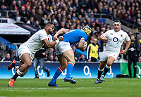 Joe Cokanasiga of England tackles Angelo Esposito of Italy during the Guinness Six Nations match between England and Italy at Twickenham Stadium on March 9th, 2019 in London, United Kingdom. Photo by Liam McAvoy.
