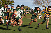 David Poasa Osofua makes a telling break from broken play for Manurewa. Counties Manukau Premier Club Rugby game between Manurewa and Patumahoe, played at Mountfort Park Manurewa on Saturday June 23rd 2018. Patumahoe won the game 29 - 24 after trailing 12 - 19 at halftime.<br /> Manurewa Kidd Contracting 24 - Petelo Ikenasio, David Osofua, Paolelei Luteru, Pisi Leilua tries, Timothy Taefu 2 conversions,<br /> Patumahoe Troydon Patumahoe Hotel 29 - Kalim North, Shea Furniss, Jonny Wilkinson, Mark Royal, James Brady tries,  Broc Hooper 2 conversions.<br /> Photo by Richard Spranger
