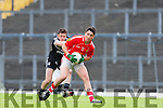 Liam Kearney East Kerry gets to ball ahead of Ardfert's Rory Horgan during their Senior County Championship clash in Fitzgerald Stadium on Saturday
