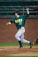 Siena Saints center fielder Dan Swain (22) hits a home run during a game against the Stetson Hatters on February 23, 2016 at Melching Field at Conrad Park in DeLand, Florida.  Stetson defeated Siena 5-3.  (Mike Janes/Four Seam Images)