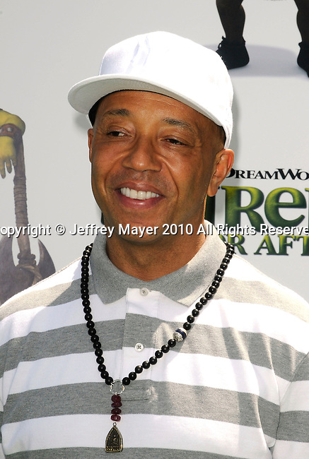 "UNIVERSAL CITY, CA. - May 16: Russell Simmons arrives at the ""Shrek Forever After"" Los Angeles Premiere at Gibson Amphitheatre on May 16, 2010 in Universal City, California."