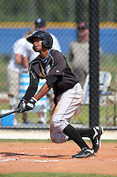 Toronto Blue Jays minor league outfielder Justin Jackson #14 during a game vs the New York Yankees at the Englebert Minor League Complex in Dunedin, Florida;  March 21, 2011.  Photo By Mike Janes/Four Seam Images