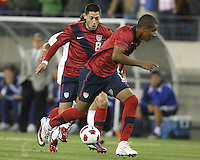 Clint Dempsey(8) and Juan Agudelo(9) of the USA MNT on the attack during an international friendly match against Paraguay at LP Field, in Nashville, TN. on March 29, 2011.Paraguay won 1-0.