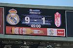 Real Madrid´s 9 goals and Granada´s 1 goal after 2014-15 La Liga match between Real Madrid and Granada at Santiago Bernabeu stadium in Madrid, Spain. April 05, 2015. (ALTERPHOTOS/Luis Fernandez)
