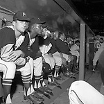 Pittsburgh PA:  Don Clendenon and Bob Priddy sitting in the dugout at the HYPO charity baseball game with the Milwaukee Braves. Player nearest to camera is rookie Bob Moose who just came up to pitch in the game.<br />
