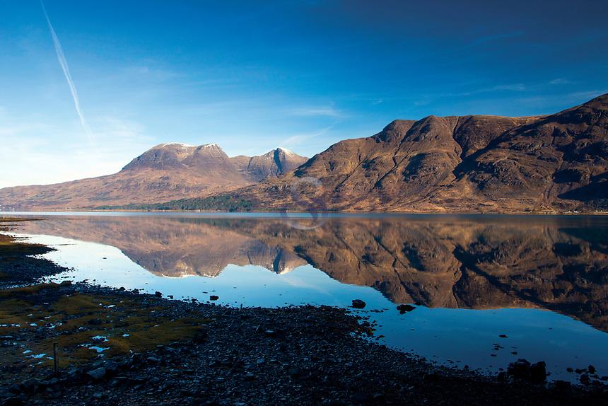 Beinn Alligin reflected in Upper Loch Torridon, Annat, Ross & Cromarty, Northwest Highlands