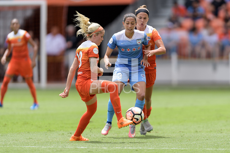 Houston, TX - Saturday April 15, 2017: Denise O'Sullivan attempts to control the ball during a regular season National Women's Soccer League (NWSL) match won by the Houston Dash 2-0 over the Chicago Red Stars at BBVA Compass Stadium.