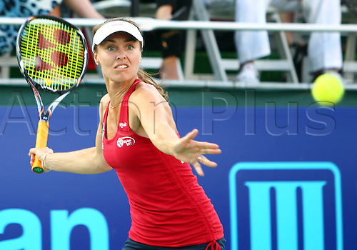 08.07.2013. Washington DC, USA.   Martina Hingis of the Washington Kastles playing against Anna-Lena Groenfeld of the New York Sportimes in a WTT singles match at the Wharf Stadium, in Washington DC.
