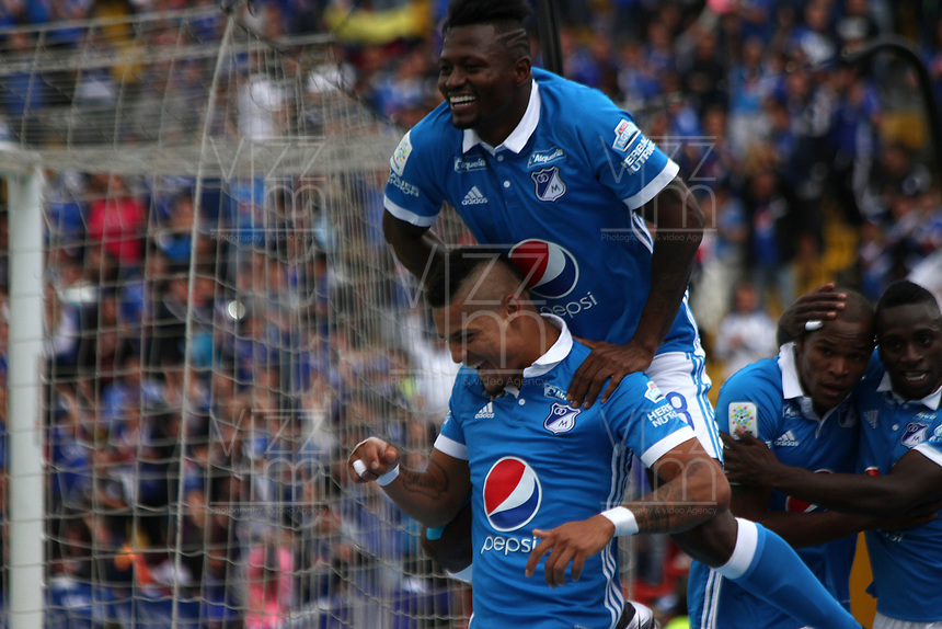 BOGOTA -COLOMBIA, 30-04-2017. Ayron Del Valle player of Millonarios celebrates his goal against Atletico Huila. Action game between  Millonarios  and Atletico Huila during match for the date 15 of the Aguila League I 2017 played at Nemesio Camacho El Campin stadium . Photo:VizzorImage / Felipe Caicedo  / Staff