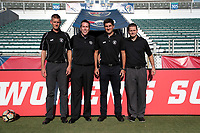 Cary, North Carolina  - Saturday August 05, 2017: Match officials John Krill, Aaron Gallagher, Elvis Osmanovic, and Benjamin Wooten prior to a regular season National Women's Soccer League (NWSL) match between the North Carolina Courage and the Seattle Reign FC at Sahlen's Stadium at WakeMed Soccer Park. The Courage won the game 1-0.