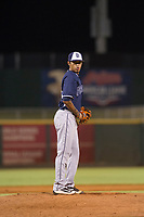 AZL Padres relief pitcher Jose Cabrera (12) prepares to deliver a pitch to the plate against the AZL Indians on August 30, 2017 at Goodyear Ball Park in Goodyear, Arizona. AZL Padres defeated the AZL Indians 7-6. (Zachary Lucy/Four Seam Images)