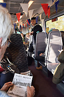 Weekend of events to commemorate 100th anniversary of the German U-Boat fleet surrendering in Harwich, November 1918. Surrender 100 themed train from Manningtree to Harwich, Essex Nov 2018