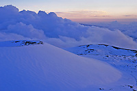 Snowcapped Mauna Kea  with clouds, Big Island